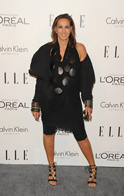 Donna Karan wore her signature draped knit tunic and leggings for the Women in Hollywood Tribute.