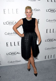 Busy Philipps looked oh-so-classy at the Elle Women in Hollywood celebration in a sleeveless LBD with a jacquard skirt.