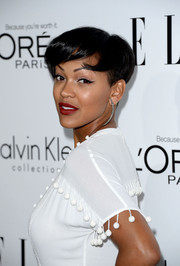 Meagan Good showed off a breezy short cut with bangs at the Elle Women in Hollywood celebration.