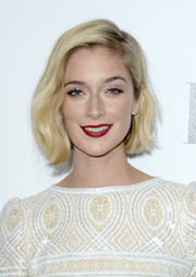Caitlin Fitzgerald totally charmed with her short wavy 'do and striking red lips at the Elle Women in Hollywood celebration.