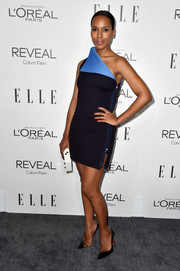 Kerry Washington looked ultra modern at the Elle Women in Hollywood event in a black and blue Calvin Klein one-shoulder mini with a fold-over neckline.