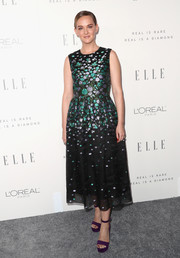 Jess Weixler looked ultra girly in a floral jacquard cocktail dress by Lela Rose during Elle's Women in Hollywood celebration.
