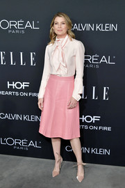 Nude ankle-tie pumps finished off Ellen Pompeo's ensemble.