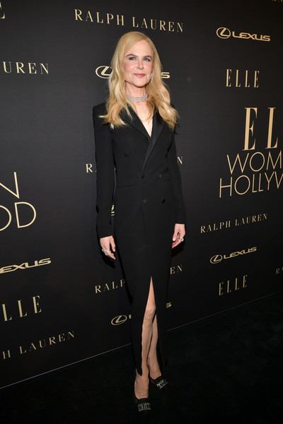 Nicole Kidman went for understated elegance in a black tuxedo dress by Ralph Lauren at the 2019 Elle Women in Hollywood celebration.