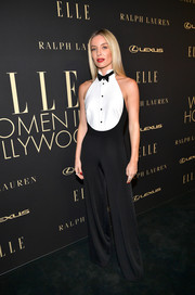 Annabelle Wallis got playful in a black-and-white tuxedo jumpsuit by Ralph Lauren at the 2019 Elle Women in Hollywood celebration.