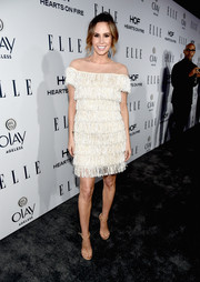 Keltie Knight worked some flapper glamour in a white Narces fringe dress with an illusion neckline during the Elle Women in Television dinner.