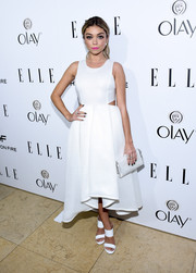 Sarah Hyland dazzled in a pure white dress with cutout detail at ELLE's Annual Women in Television Celebration.