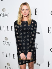 Emily Wickersham worked a cute patterned LBD to ELLE's Annual Women in Television Celebration.