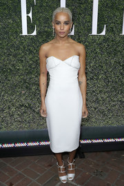 Zoe Kravitz complemented her frock with strappy white satin sandals by Christian Louboutin.
