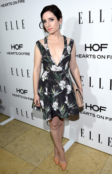 Zoe Lister Jones arrived at ELLE's Annual Women in Television Celebration in a beautiful floral skater dress with unique cutout shoulders.