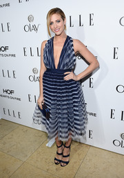 Brittany Snow chose a wonderful striped dress with a full skirt and low neckline for ELLE's Annual Women in Television Celebration.