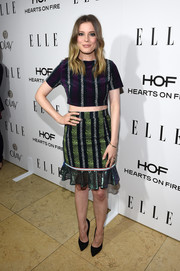 GIllian Jacob's looked great in a purple striped crop-top at ELLE's Annual Women in Television Celebration.