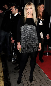 Jo Wood worked a super-short silver fringed dress at the Elle Style Awards 2010 in London.