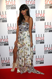 Jameela Jamil put her best fashion foot forward at the Elle Style Awards in this side-split floral print number.