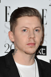 Professor Green topped off his Elle Style Awards look with a neat slicked-back hairstyle.
