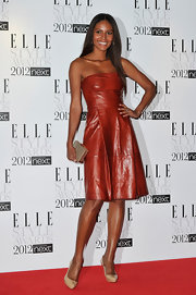 Emanuela De Paula wore this cognac leather dress to the Elle Style Awards.