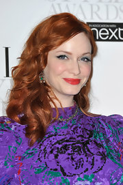 Christine Hendricks opted for a bright aqua eyeshadow to pair with her vibrant red lips at the 2012 'Elle'Style Awards.