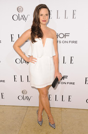 Katie Lowes sealed off her sassy ensemble with a pair of black-and-white striped pumps.