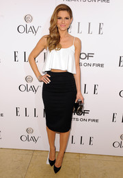 Maria Menounos kept it classic on the bottom half in a simple black pencil skirt.