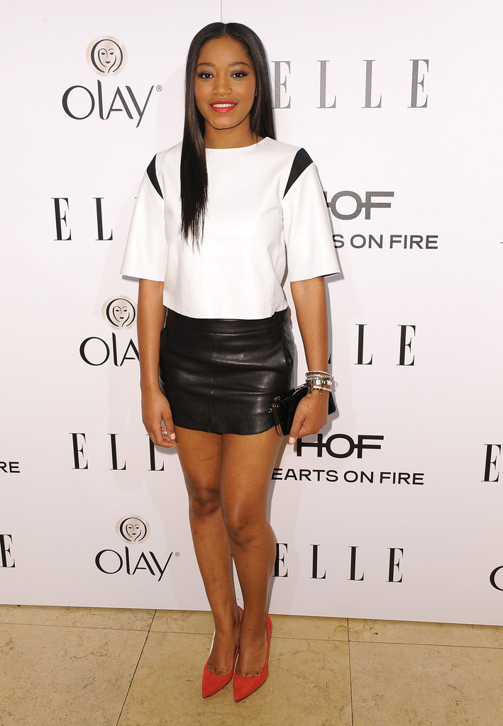 keke palmer what to wear with a leather skirt stylebistro