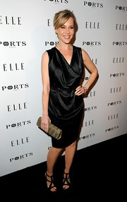 Julie dons an LBD in a shining satin with a deep cowl neck for the Elle dinner party.