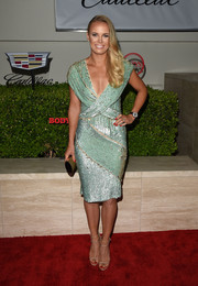 Caroline Wozniacki polished off her red carpet look with super-sexy nude sandals.