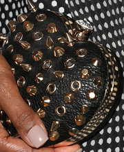 Golden Brooks carried a heart-shaped studded clutch for an added rocker-edge at the Black Women in Hollywood Awards Luncheon.