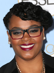 Jill Scott matched her berry lips with her funky and colorful eyeglasses at the Black Women in Hollywood Awards Luncheon.
