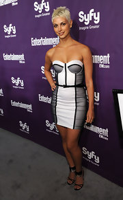 Morena Baccarin showed off her white and black corset mini-dress.