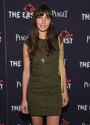 Rebecca Dayan went for a minimalist-chic look with this textured brown mini dress at the premiere of 'The East.'
