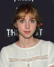 Zoe Kazan styled her hair in a messy ponytail with wispy bangs for the premiere of 'The East.'