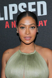 La La Anthony slicked her hair down into a center-parted ponytail for the Broadway opening of 'Eclipsed.'