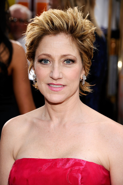 Edie Falco Dangling Diamond Earrings [red carpet,hair,hairstyle,eyebrow,lip,blond,beauty,chin,shoulder,premiere,long hair,edie falco,screen actors guild awards,california,los angeles,the shrine auditorium,17th annual screen actors guild awards]