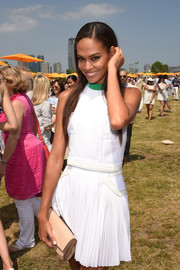 Joan Smalls looked youthful and preppy in her Alexander Wang LWD at the Veuve Clicquot Polo Classic.