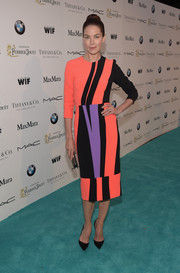 Michelle Monaghan made an electrifying presence in a Roksanda color-block sheath dress during the Women in Film pre-Oscar cocktail party.
