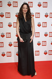 Natalia Woerner wore a black silk evening dress with a drop waist for the Ein Herz Fuer Kinder Charity Gala.