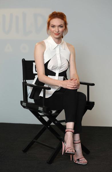 Eleanor Tomlinson Strappy Sandals [poldark,photo,white,clothing,sitting,shoulder,beauty,fashion,leg,fashion design,dress,fashion model,eleanor tomlinson,build ldn,role,build ldn,aol london,england,event]