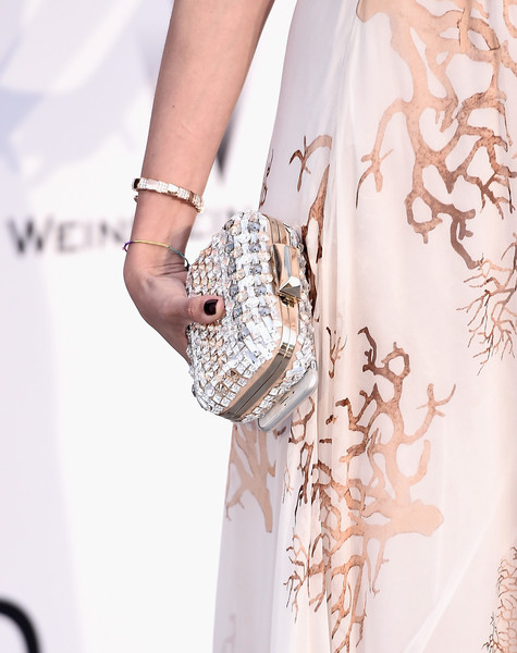 Eleonora Carisi Beaded Clutch [white,clothing,shoulder,dress,fashion,joint,fashion model,footwear,waist,cocktail dress,arrivals,eleonora carisi,harry winston,bold films,fashion detail,hotel du cap-eden-roc,france,amfar,cinema against aids gala,22nd cinema against aids gala]