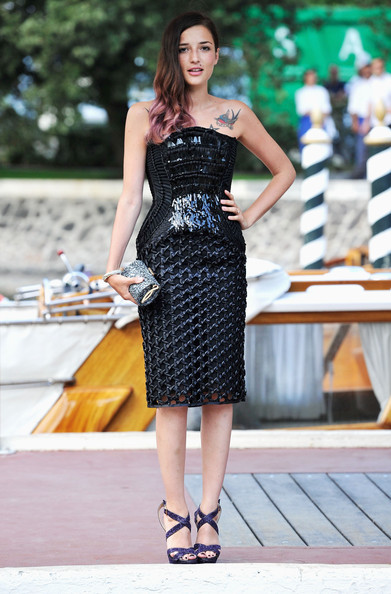 Eleonora Carisi Tube Clutch [celebrity sightings,clothing,dress,black,fashion model,fashion,lady,strapless dress,beauty,street fashion,waist,eleonora carisi,venice,italy,69th venice film festival]