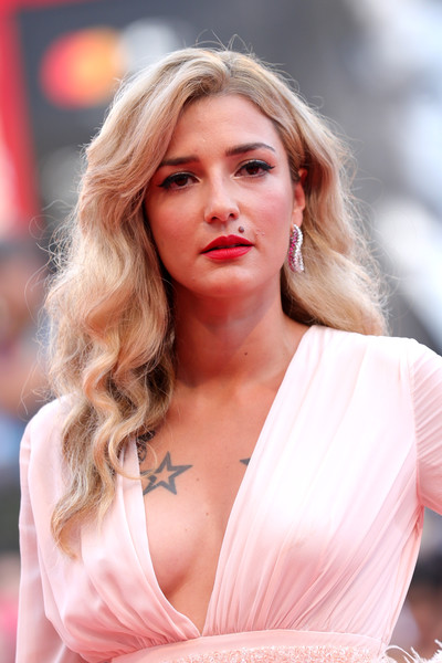 Eleonora Carisi Red Lipstick [marriage story,hair,blond,face,beauty,lip,hairstyle,skin,fashion model,pink,chin,red carpet arrivals,eleonora carisi,sala grande,red carpet,venice,italy,76th venice film festival,screening]