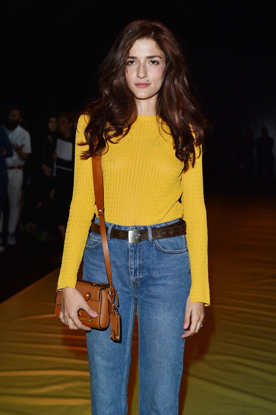 Eleonora Carisi Leather Shoulder Bag [show,fashion model,clothing,yellow,fashion,fashion show,jeans,waist,beauty,shoulder,long hair,collections men,eleonora carisi,front row,milan,italy,dsquared2,milan mens fashion week spring]
