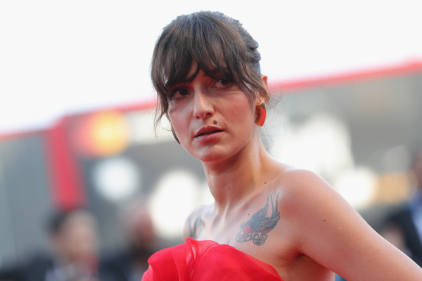 Eleonora Carisi Messy Updo [first man premiere,muscle,photography,chest,bangs,black hair,vanessa redgrave,first man,eleonora carisi,sala grande,opening ceremony and lifetime achievement award,red carpet,red carpet arrivals,venice film festival,opening ceremony]