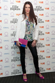 Kate Magowan attended the world premiere of 'Elfie Hopkins' wearing a pair of magenta peep toe Mary Janes