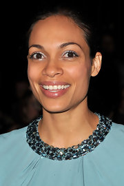 Rosario Dawson swept on a sheer silvery metallic shadow for the Elie Saab fall 2012 fashion show.