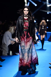 Kendall Jenner channeled her inner rock star in this lace-panel tie-dye gown on the Elie Saab runway.