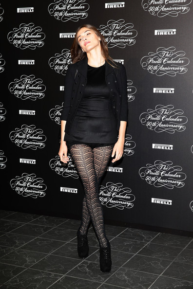 Elisa Sednaoui Tights [clothing,tights,leggings,fashion,leg,footwear,knee,joint,stocking,outerwear,elisa sednaoui,press conference,pirelli calendar 50th anniversary press conference,pirelli calendar 50th anniversary,milan,italy]