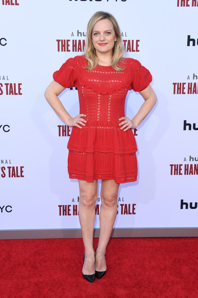 Elisabeth Moss Mini Dress [the handmaids tale celebrates season 3,the handmaids tale celebrates season 3 finale,clothing,cocktail dress,red,dress,premiere,red carpet,footwear,carpet,fashion model,fashion,arrivals,elisabeth moss,hulu,california,regency village theatre,westwood]