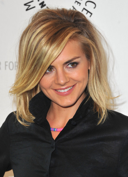 Eliza Coupe Medium Straight Cut with Bangs [happy endings,hair,blond,face,hairstyle,eyebrow,brown hair,chin,layered hair,beauty,long hair,eliza coupe,beverly hills,california,paley center for media presents an evening with,the paley center for media,an evening]
