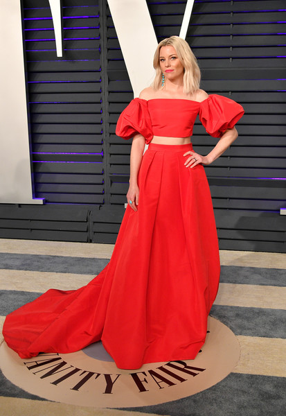 Elizabeth Banks Long Skirt [oscar party,vanity fair,clothing,dress,shoulder,gown,fashion model,red,fashion,haute couture,formal wear,a-line,beverly hills,california,wallis annenberg center for the performing arts,radhika jones - arrivals,radhika jones,elizabeth banks]