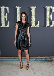 Eva Chen opted for an edgy black leather dress when she attended the Elle anniversary celebration.